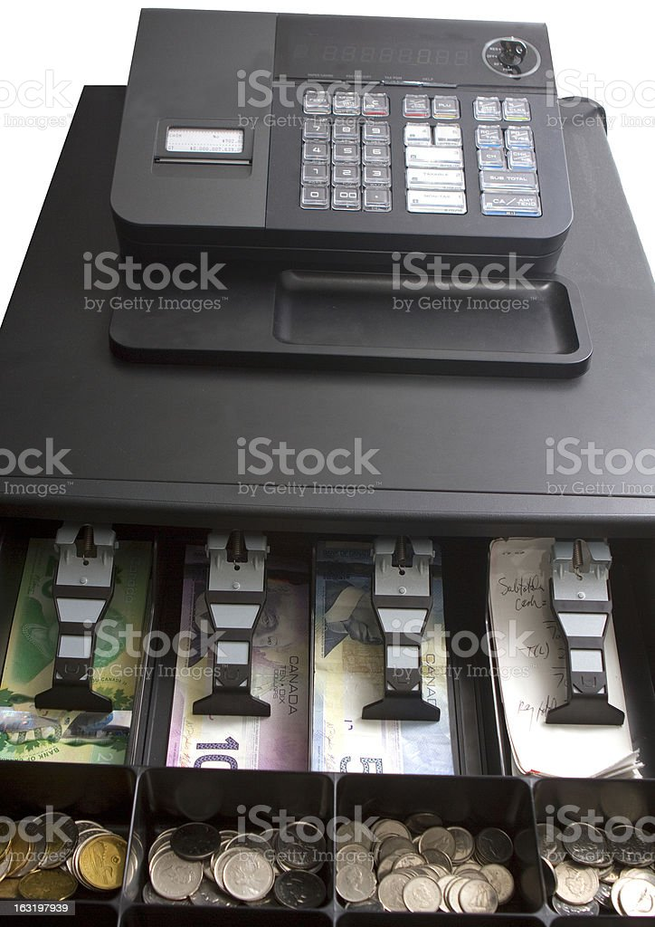 Canadian Money In Cash Register royalty-free stock photo