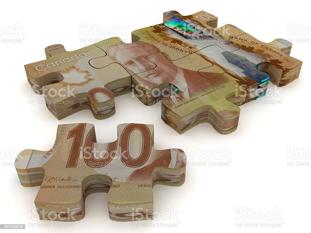 Canadian money puzzle concept stock photo