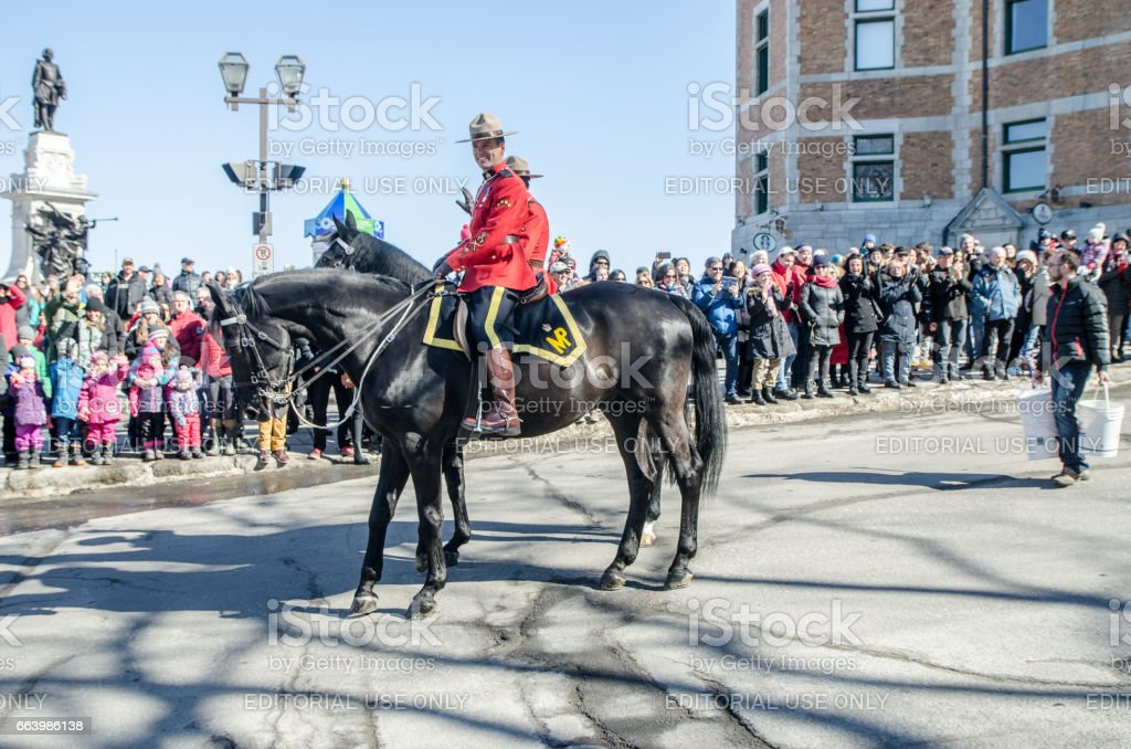 Canadian Mounted Police on horses at the Quebec St-Patrick's Parade stock photo