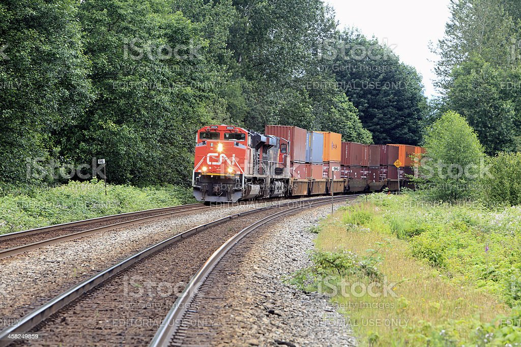 Canadian National Freight Train In Rural Canada royalty-free stock photo
