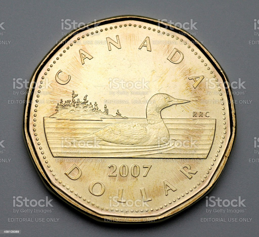 Canadian one dollar coin stock photo