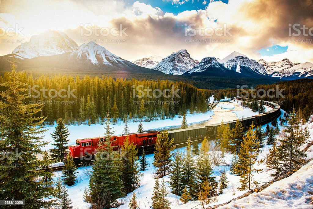 Canadian Pacific Railway Train through Banff National Park Canada stock photo