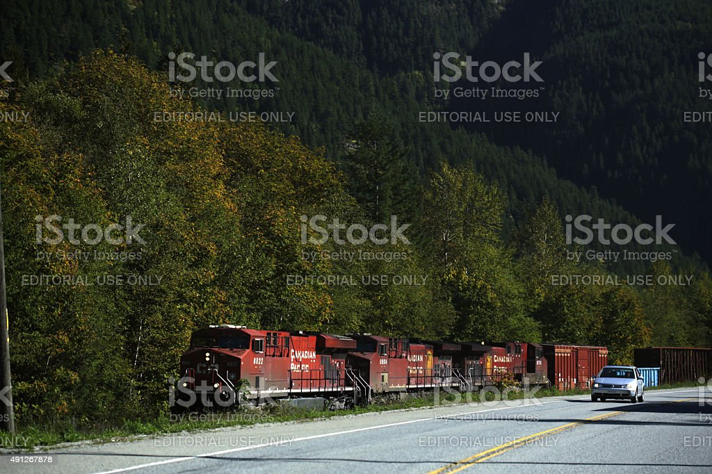 Canadian Pacific Train and Trans-Canada Highway in the Fraser Valley stock photo