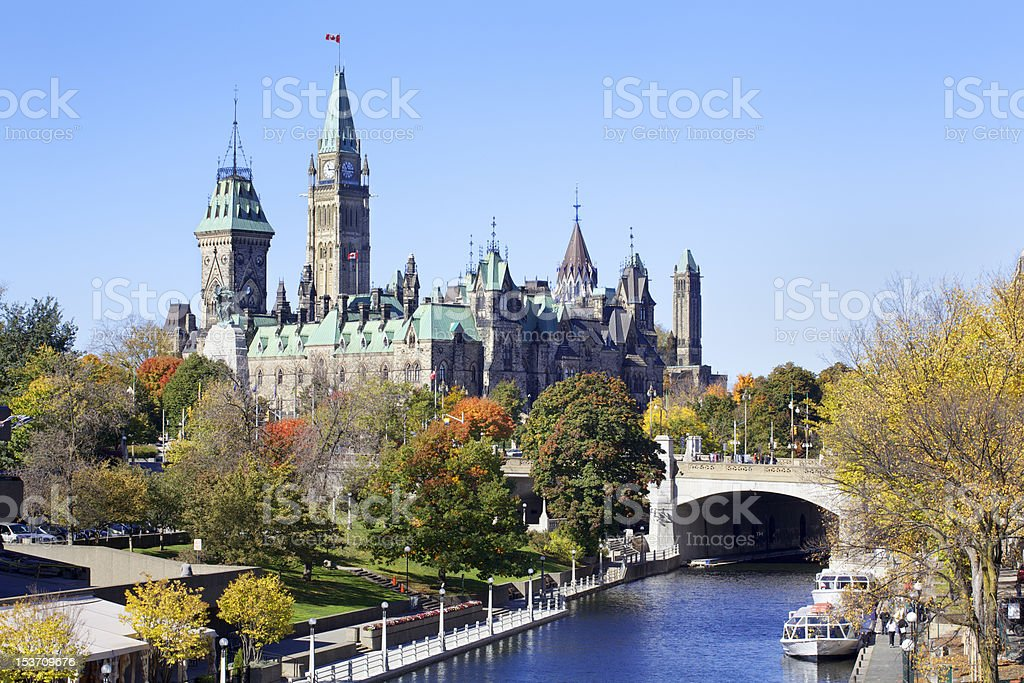 Canadian Parliament and Rideau Canal (XXXL) royalty-free stock photo