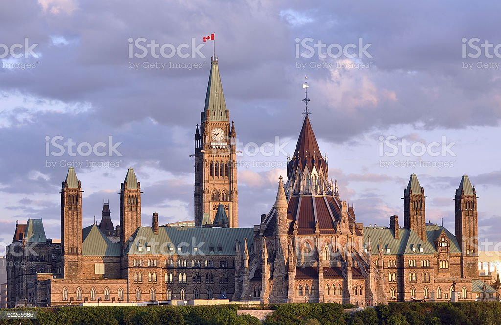 Canadian Parliament Building at Dusk stock photo