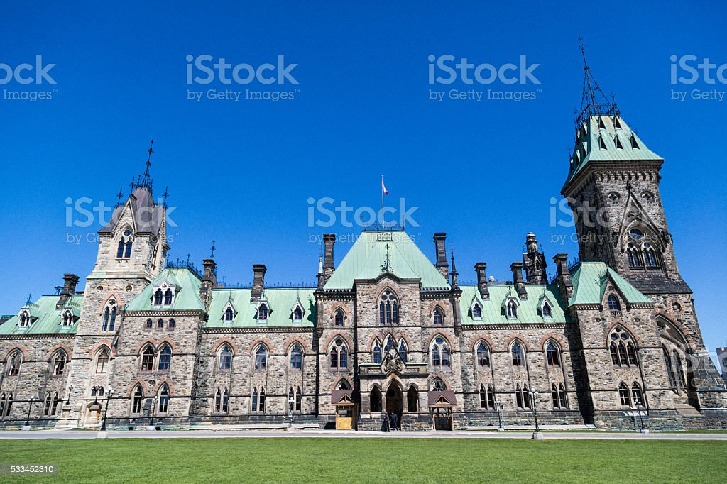 Canadian Parliament East Block building stock photo