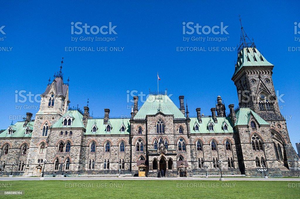 Canadian Parliament East Block stock photo