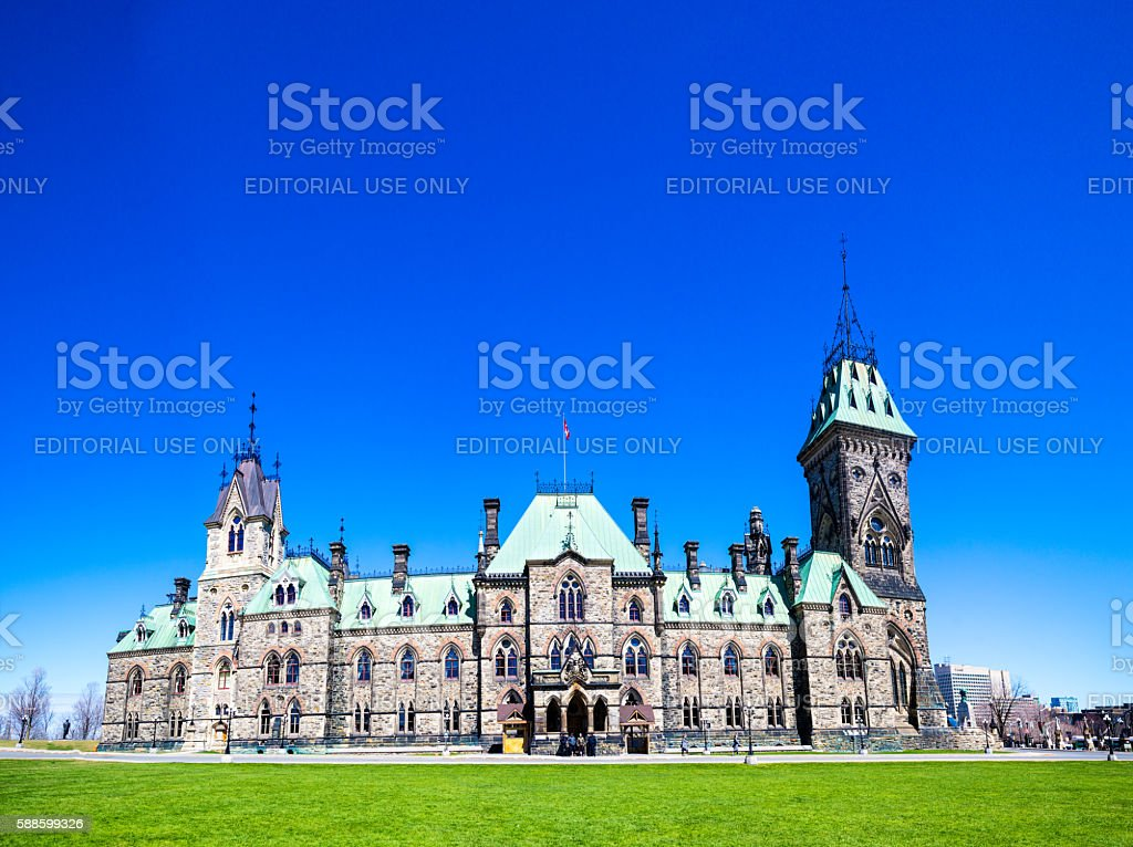 Canadian Parliament East Block stock photo