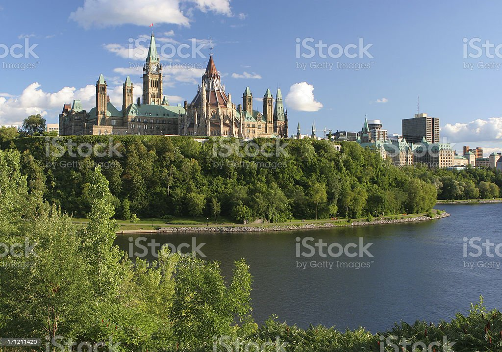 Canadian Parliament in Ottawa City stock photo