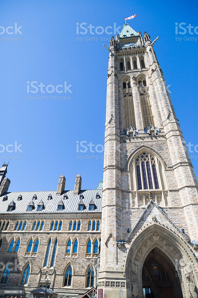 Canadian Parliament Peace Tower stock photo