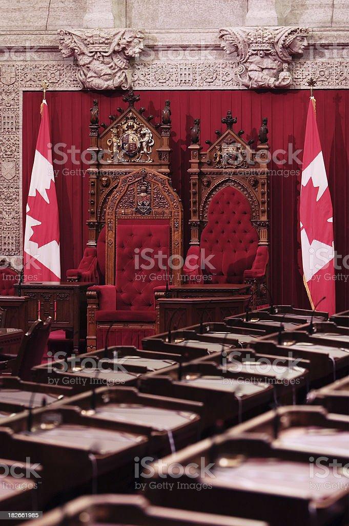 Canadian Parliament Senate Throne stock photo