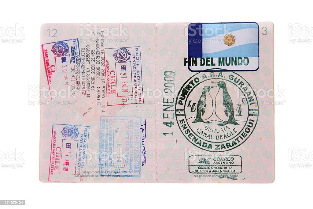 Canadian Passeport With Travel Visas Isolated on White Background royalty-free stock photo