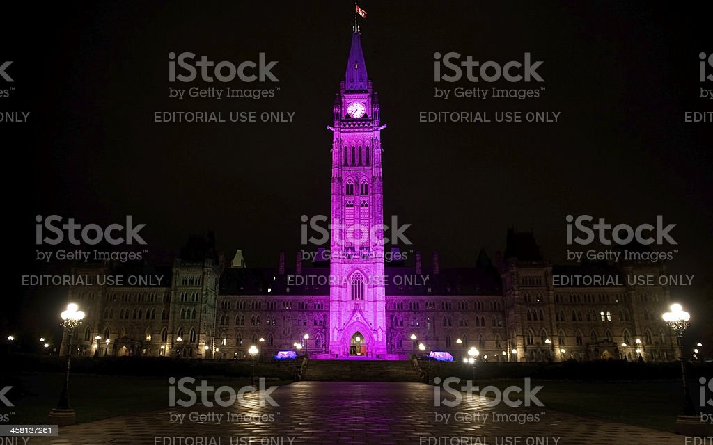 Canadian Peace Tower celebrates Day of the Girl stock photo