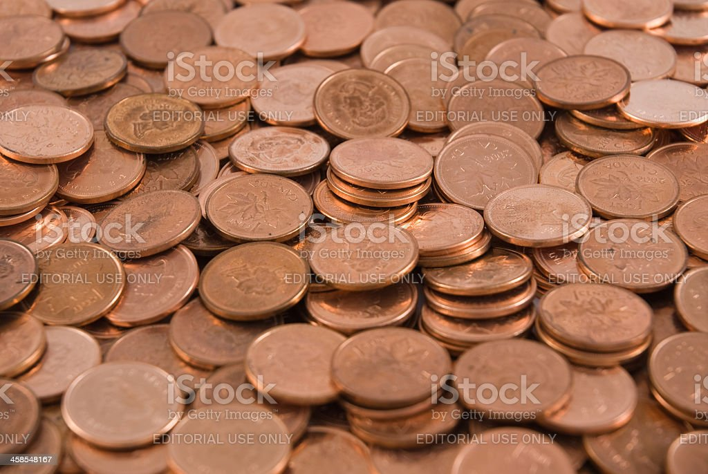 Canadian pennies royalty-free stock photo