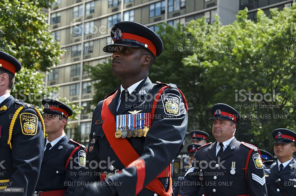 Canadian Police Officers, NYPD 9-11 Memorial Ceremony, New York City royalty-free stock photo