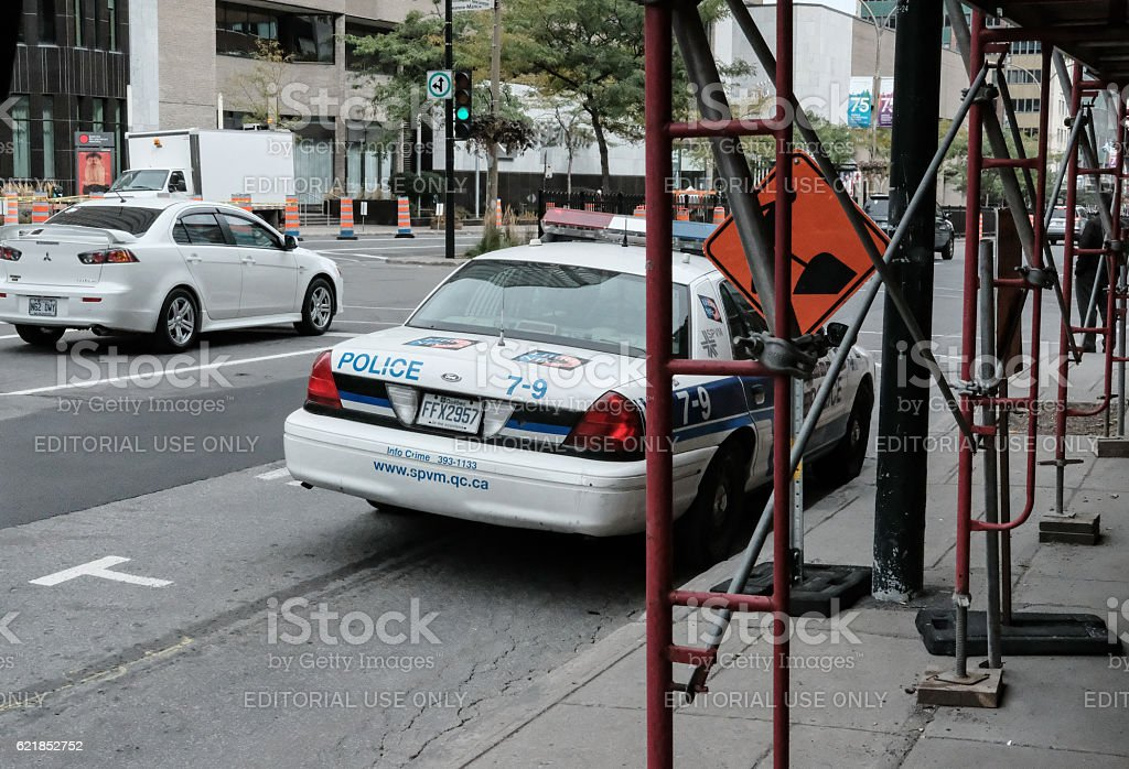 Canadian Police Vehicle Seen In Midtown Montreal stock photo