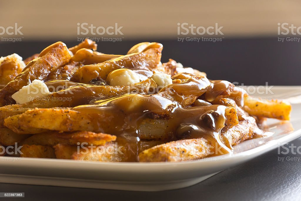 Canadian Poutine, Gravy and French Fries stock photo