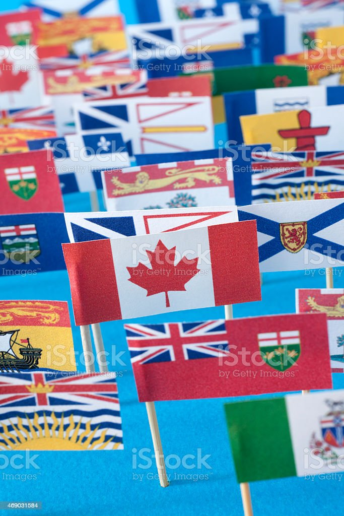 Canadian provinces and territories flags stock photo