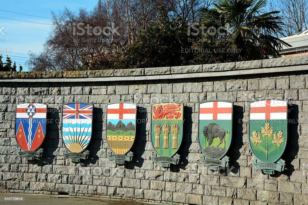 Canadian Provincial and Territorial coats of arms. stock photo