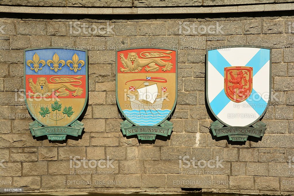 Canadian Provincial coats of arms stock photo