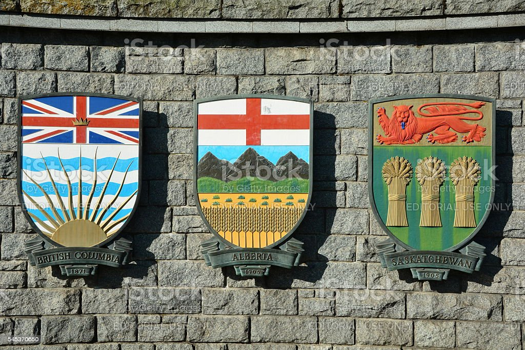 Canadian provincial  coats of arms. stock photo