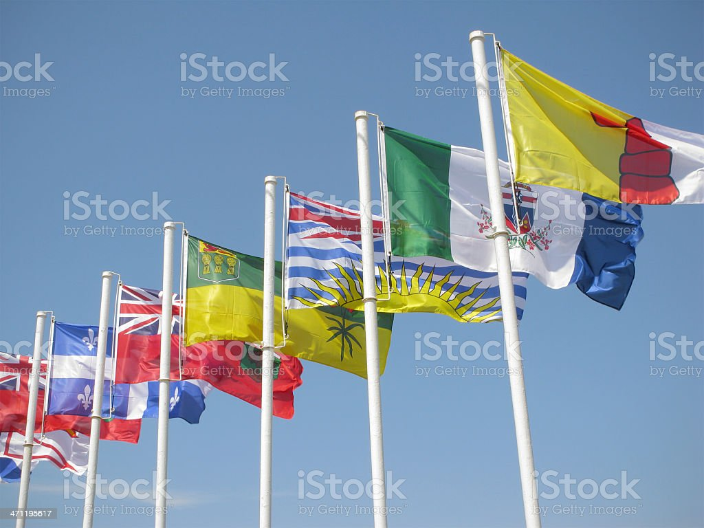 Canadian provincial flags. stock photo