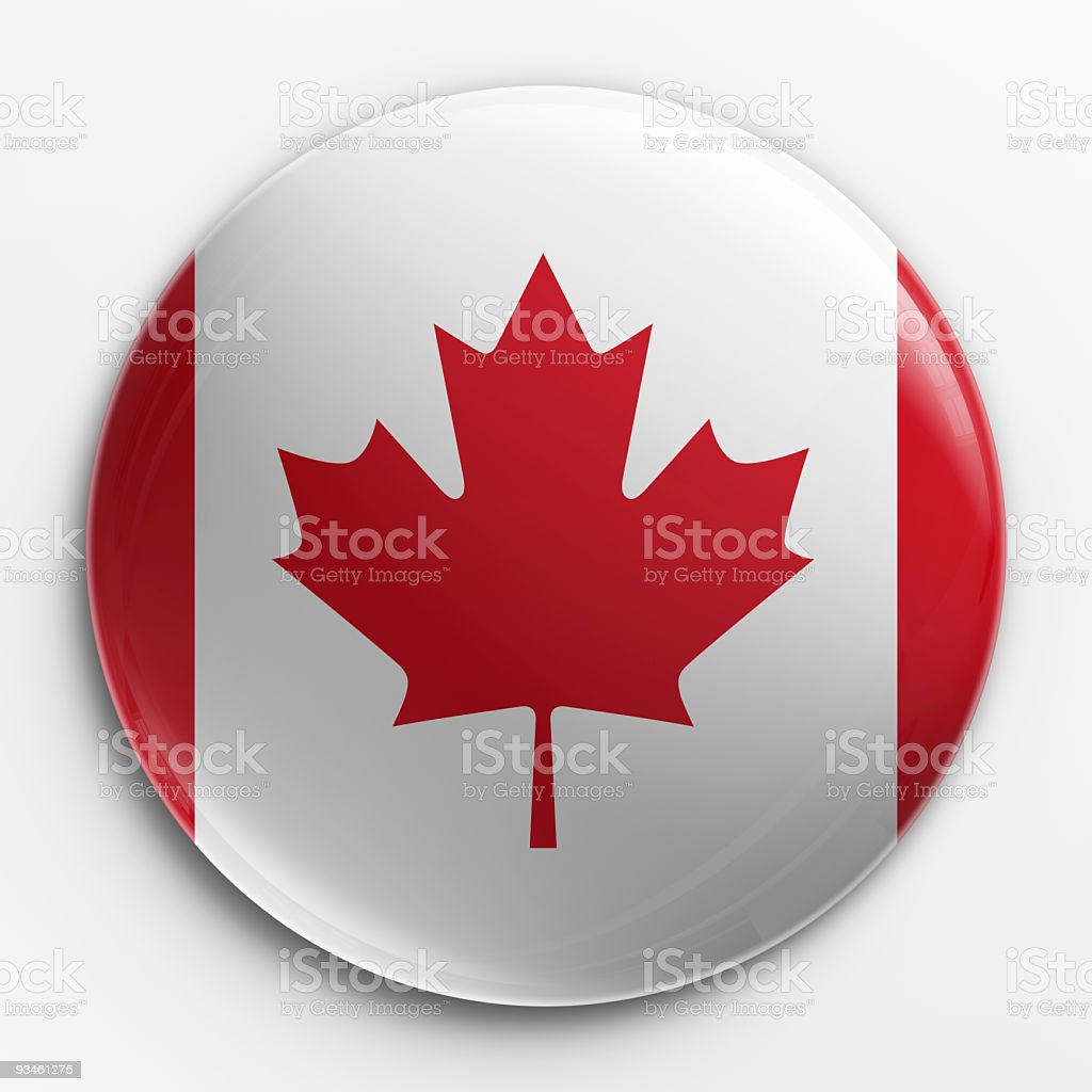 Canadian red and white flag on a badge stock photo