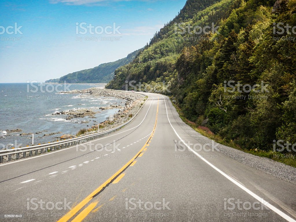 Canadian road on quebec gaspesie region stock photo