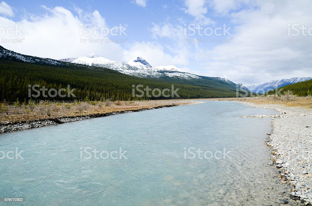 Canadian Rockies, Autumn Scenery of Icefields Parkway stock photo