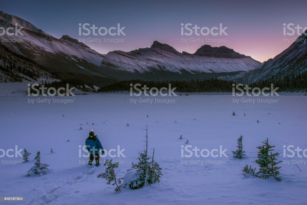 Canadian Rockies before sunrise in winter stock photo