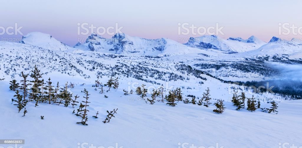 Canadian Rockies Winter Alpenglow stock photo
