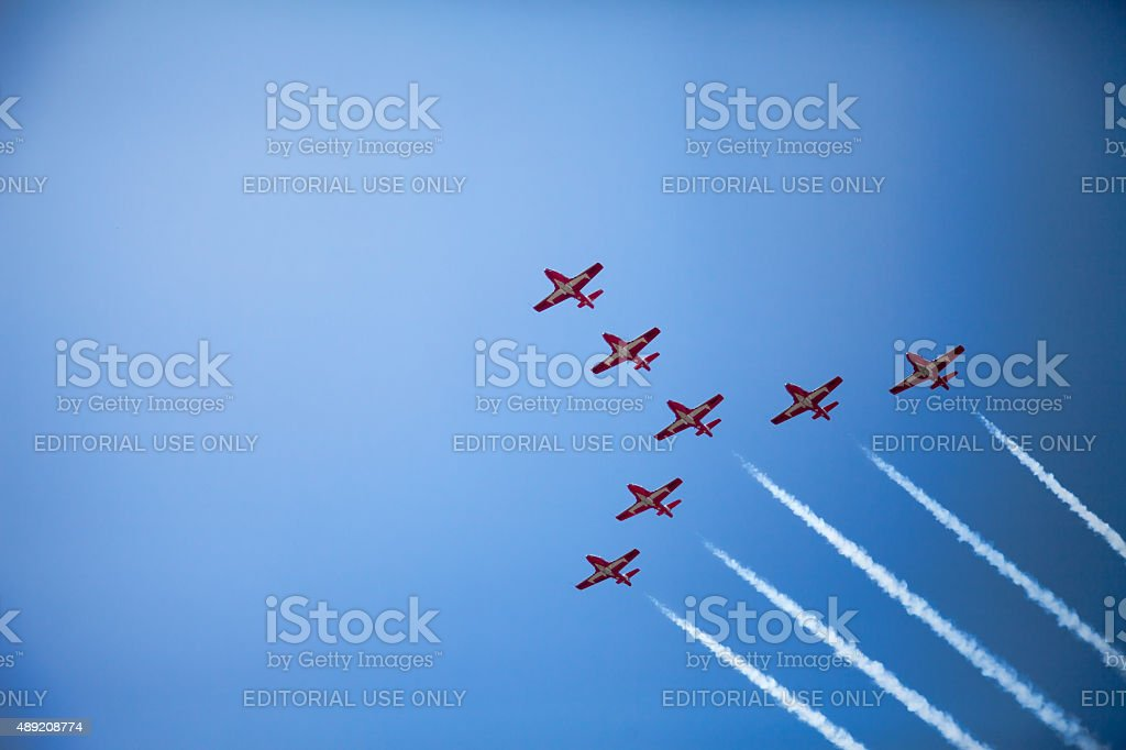 Canadian Snowbirds flying in formation stock photo