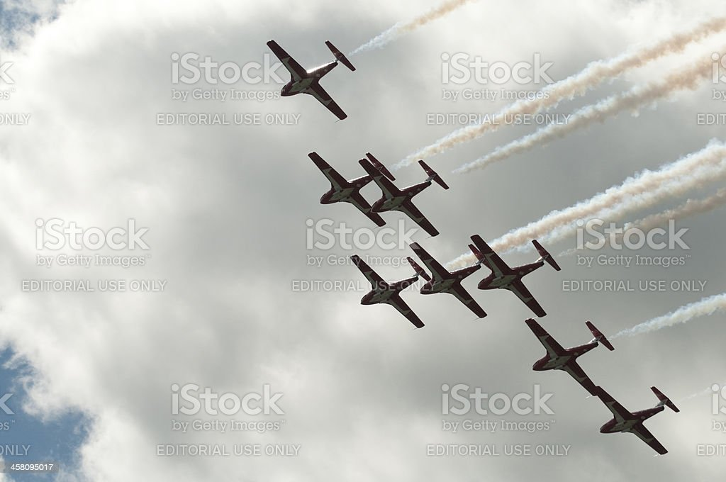 Canadian Snowbirds in Close Formation stock photo