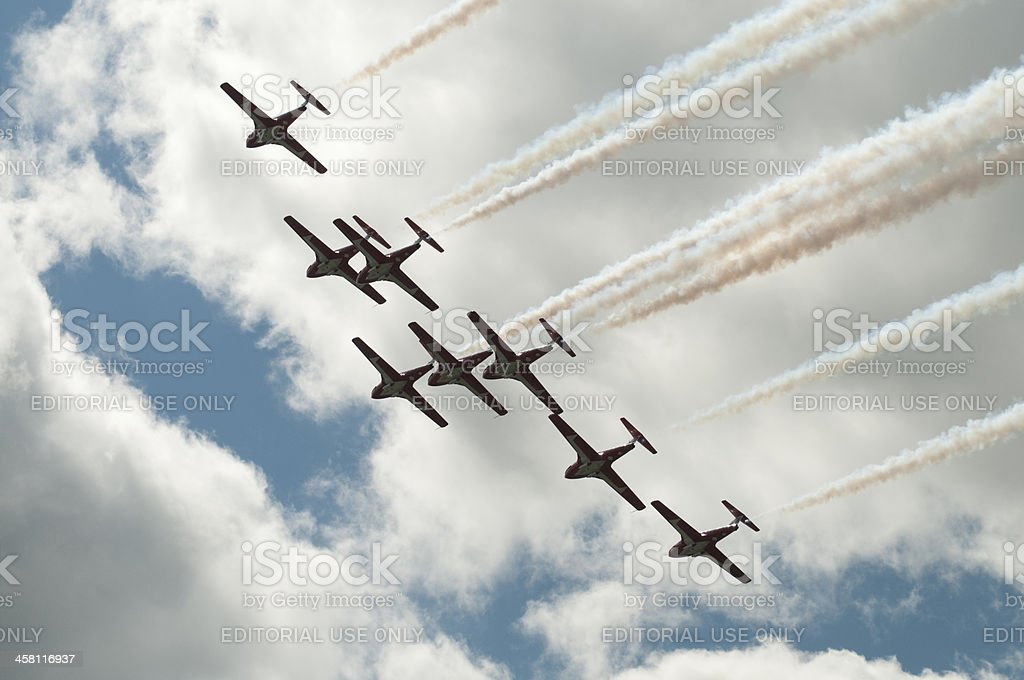Canadian Snowbirds in Formation stock photo