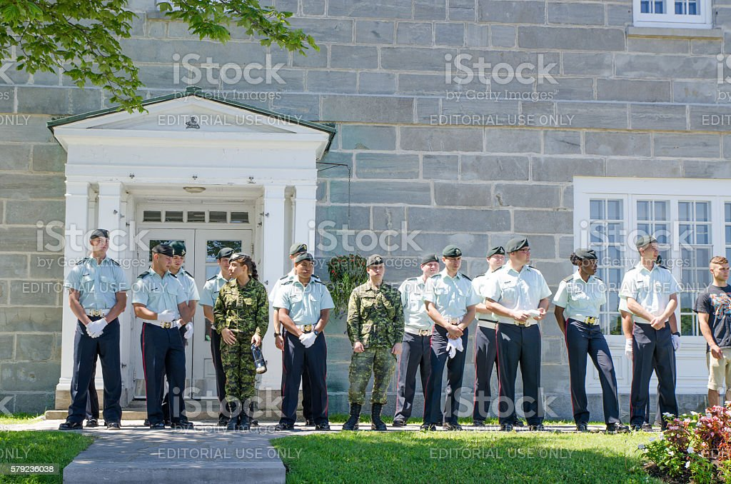 Canadian Soldiers in front of their barracks stock photo