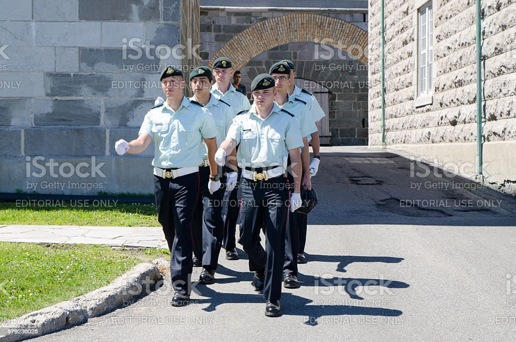 Canadian Soldiers marching in front of their barracks stock photo
