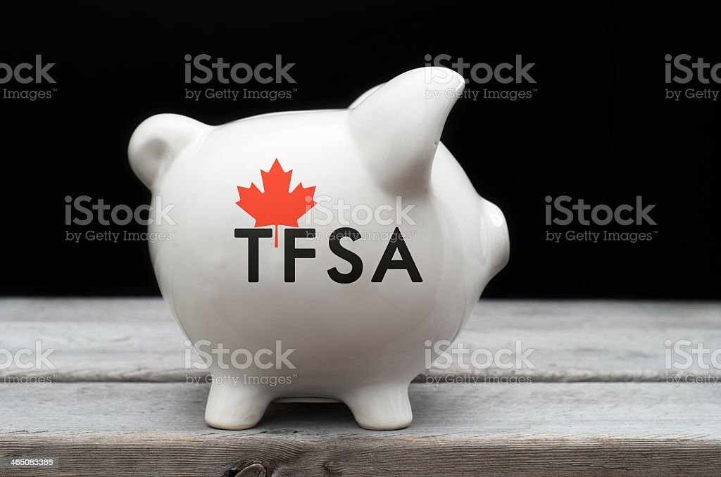 Canadian Tax-Free Savings Account concept with a piggy bank agai stock photo