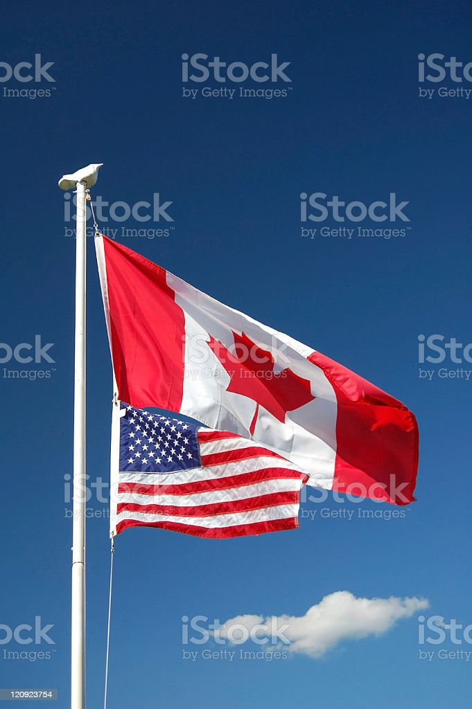 Canadian & United States Flags stock photo