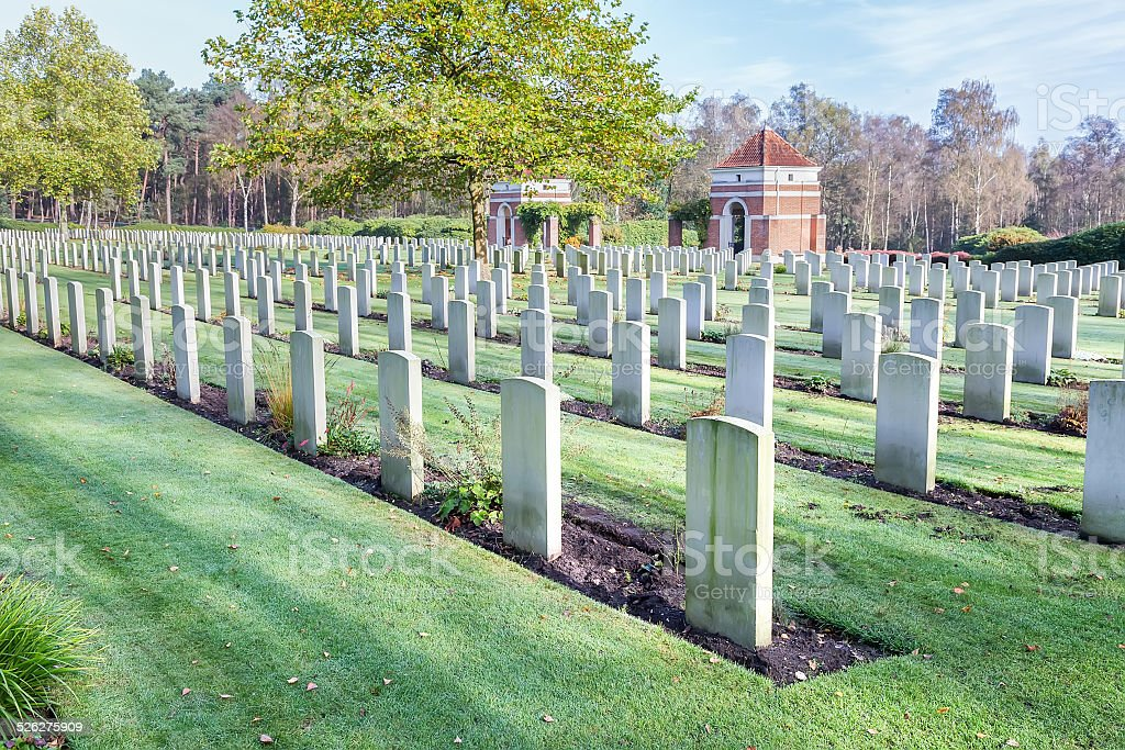 Canadian war cemetery in holland stock photo