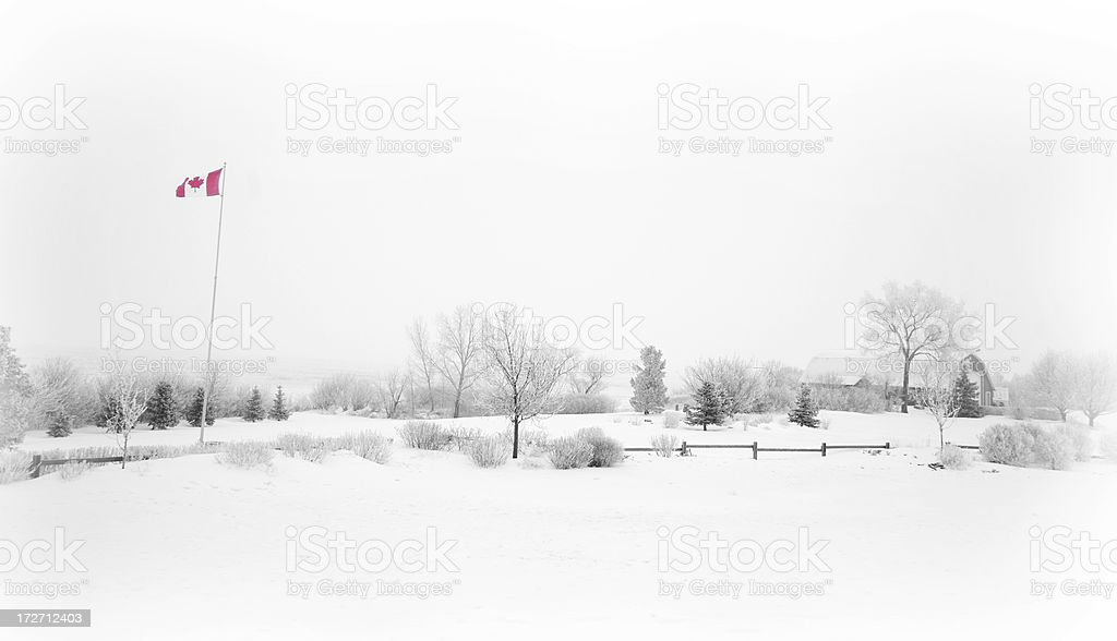 canadian winter scene stock photo