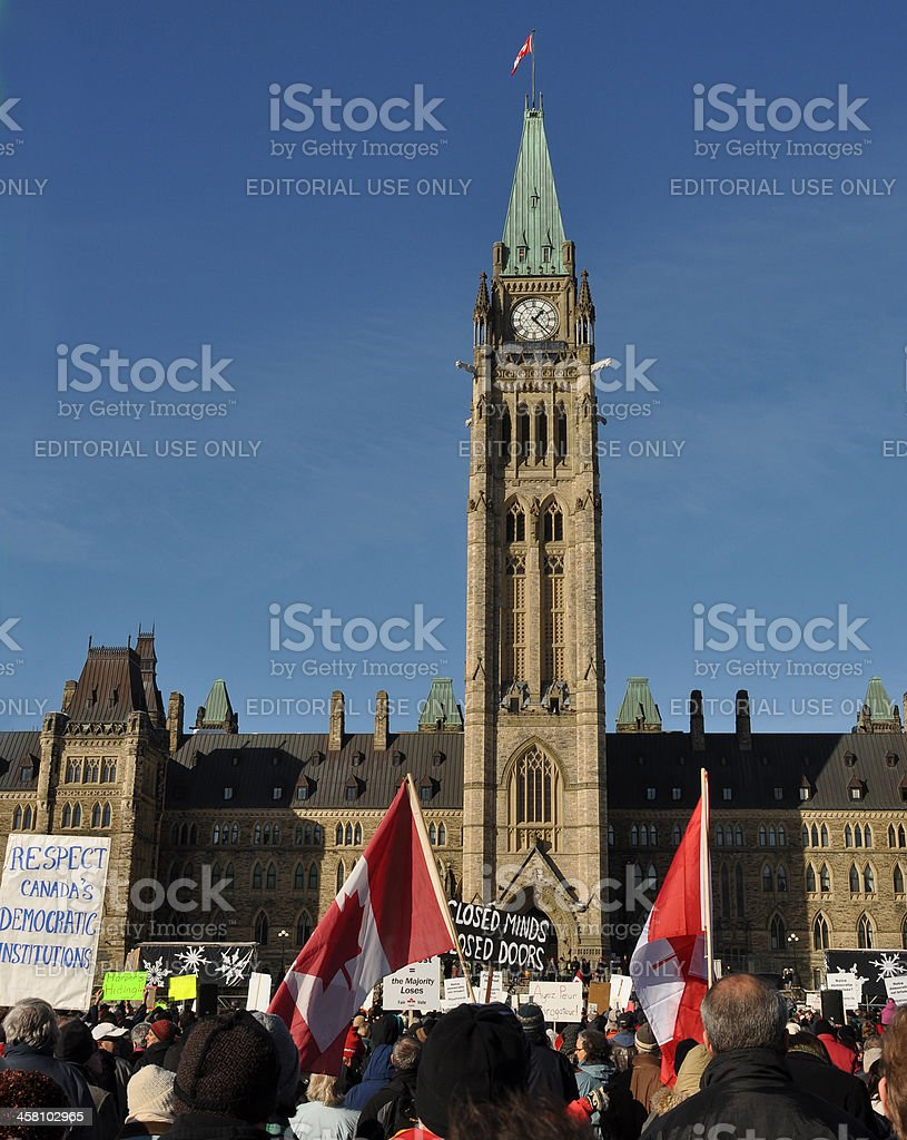 Canadians protest suspension of Parliament stock photo