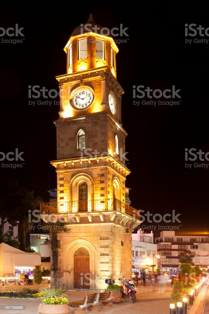 canakkale clock tower  at night stock photo