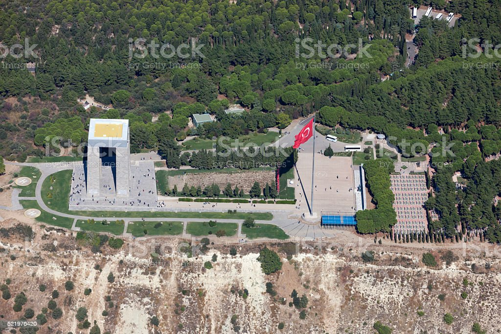 Canakkale Martyrs' Memorial from above, Turkey stock photo