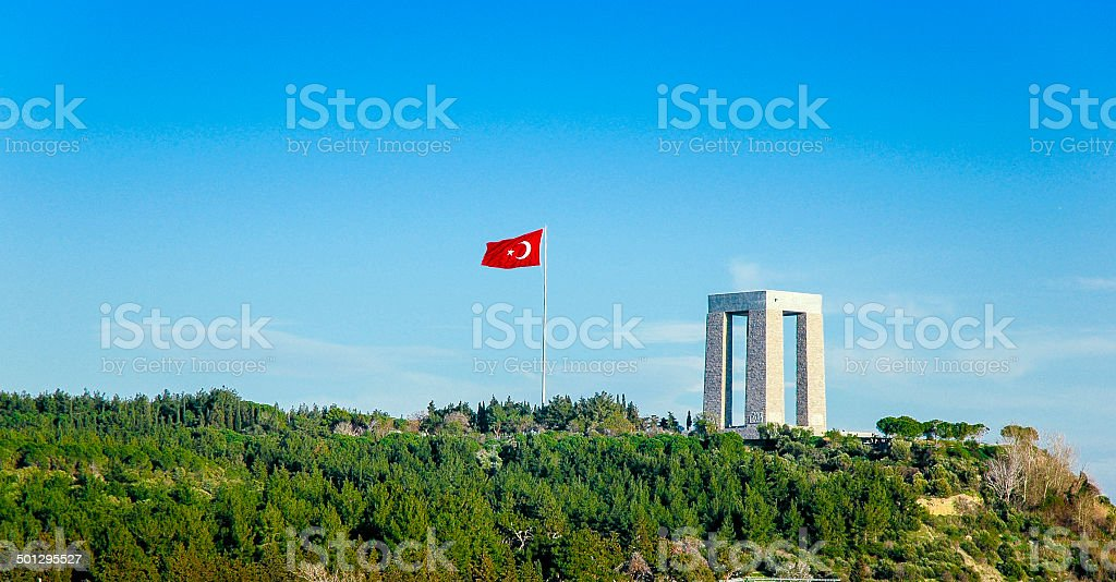 Canakkale Martyrs' Memorial with Turkish Flag stock photo
