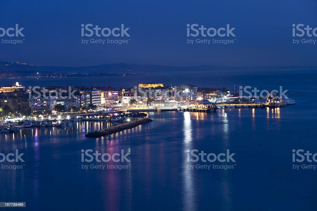 canakkale skyline by night stock photo