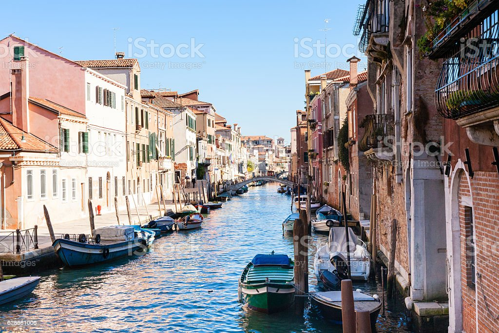 canal and apartments in Cannaregio in Venice stock photo