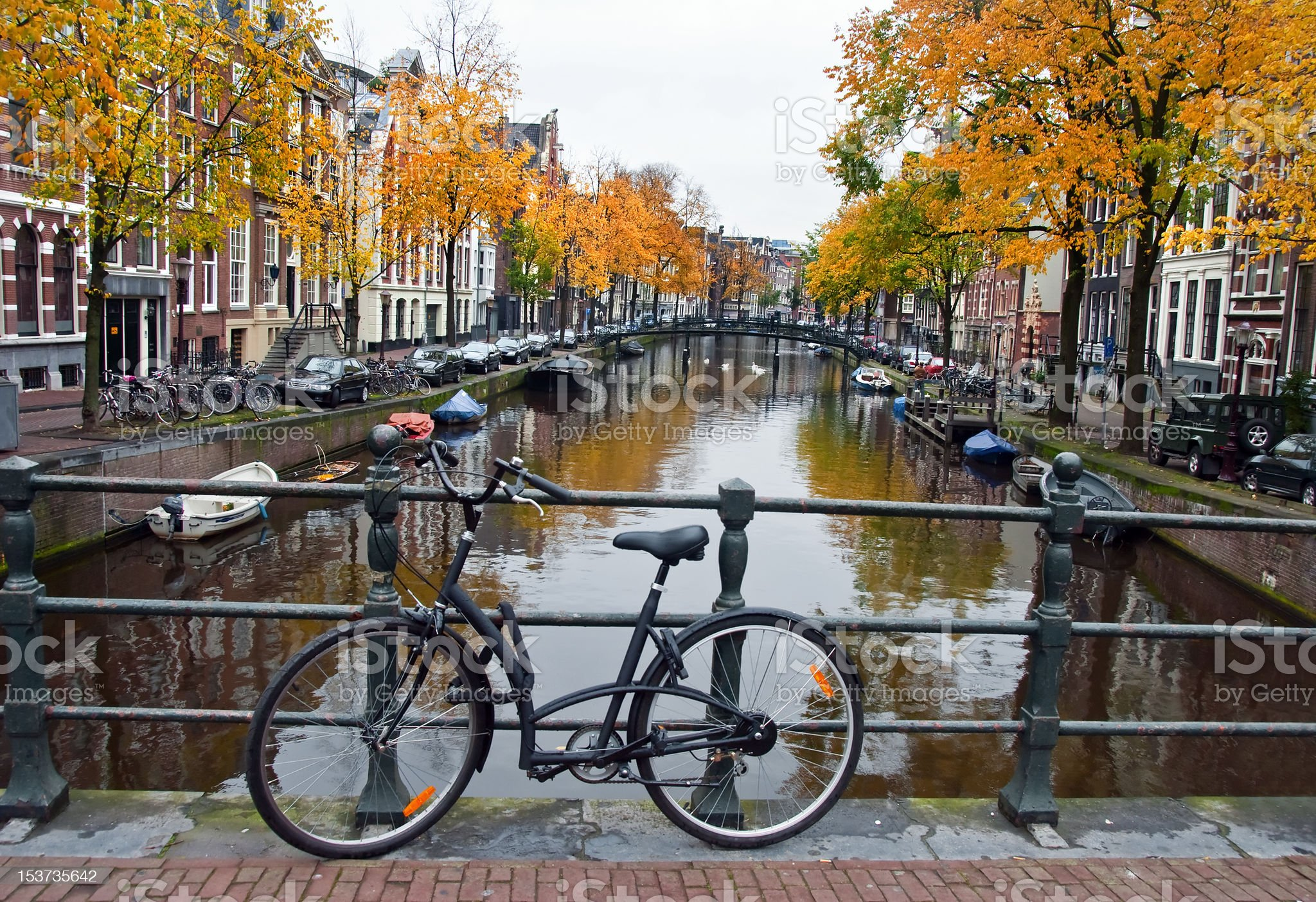 Canal and Bike in Amsterdam royalty-free stock photo