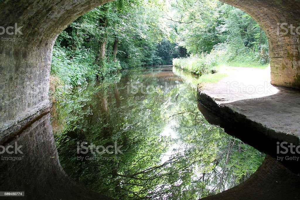 Canal and bridge with tree reflections stock photo