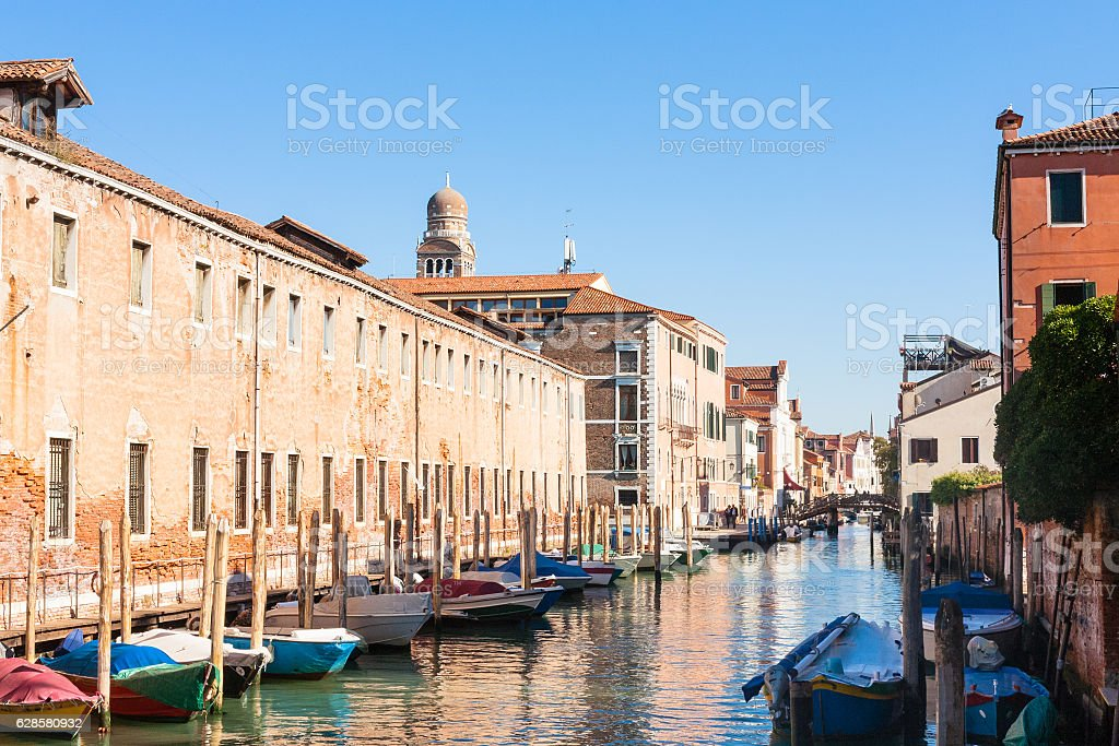 canal and buildings in Cannaregio in Venice stock photo
