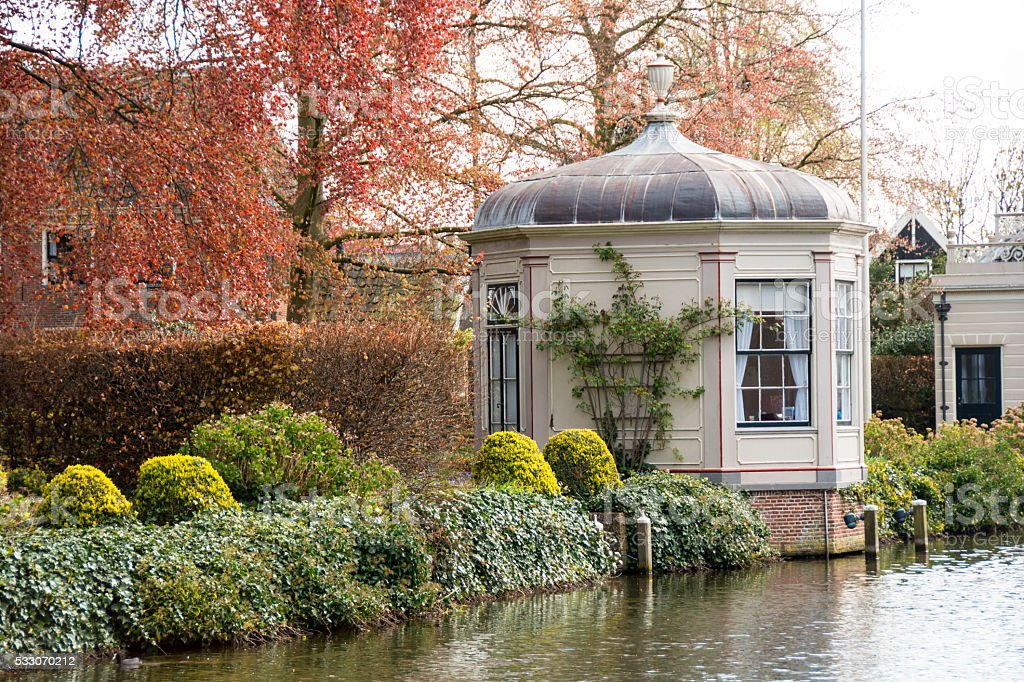 Canal and canal building  in Edam, Neatherlands stock photo